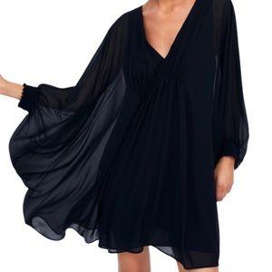 Zara Black V-Neck Cape Style Gathered Flowy Dress